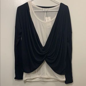 DKNY Twisted Top Medium Black and White